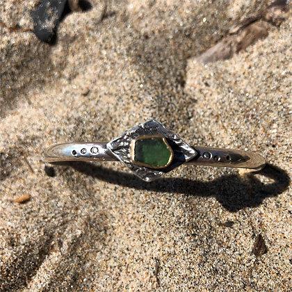 The Kelp + Sea Glass Bangle