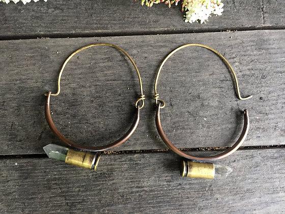 Crystal Bullet Hoop Earrings