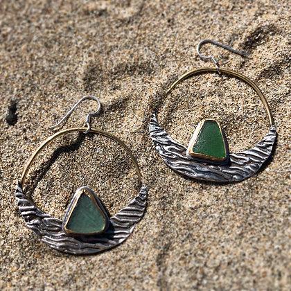 The Kelp + Sea Glass Hoops