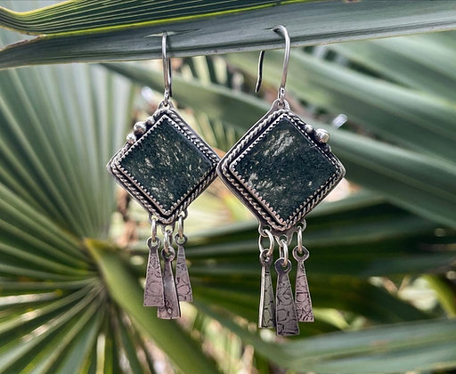 The Moss Agate Dreamcatcher Earrings /// DIAMOND