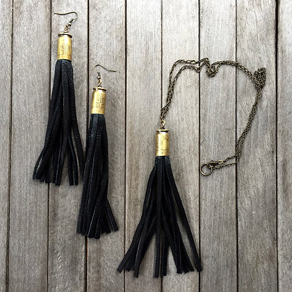 Desert Etched Bullet and Fringe Earrings (OOAK)