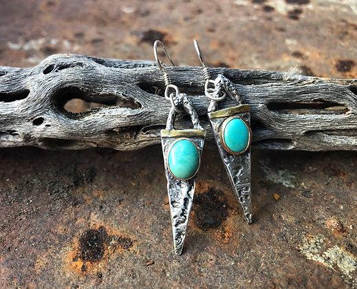 The Elk Skull + Turquoise Spear Earrings