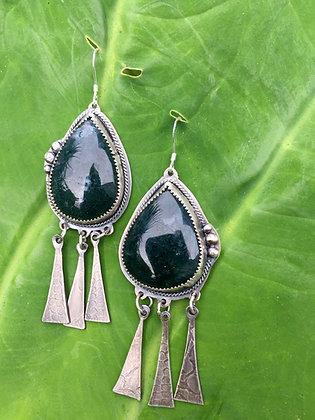 Moss Agate Dreamcatcher Earrings /// Small Stones