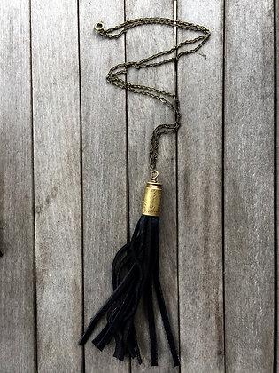 Arrow Etched Bullet and Fringe Necklace (OOAK)