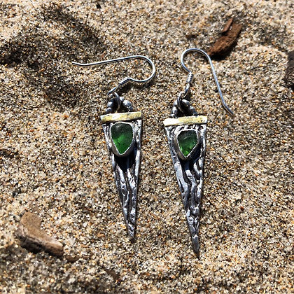 The Ocean Spear Earrings - Kelp + Sea Glass