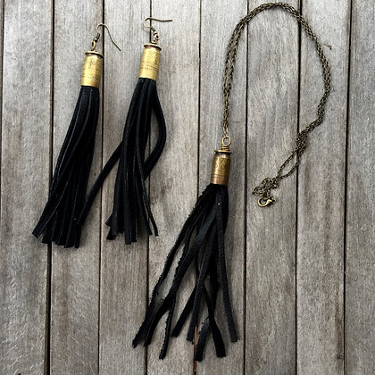 Pattern Etched Bullet and Fringe Earrings (OOAK)
