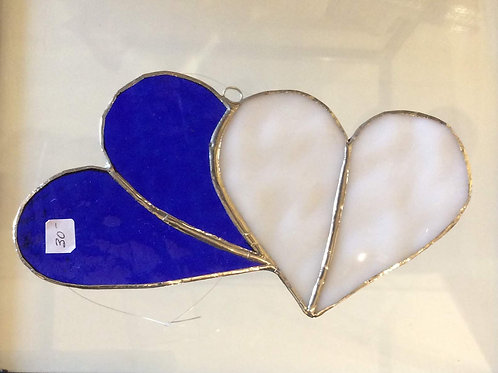 Blue Stained Glass Hearts