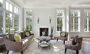 Living room in luxury home with fireplac