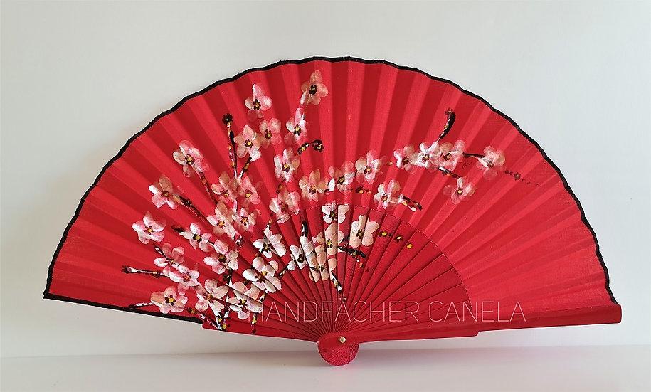 AP-239ROJ - Handbemalter Fächer mit Blumen Motiv in Rot