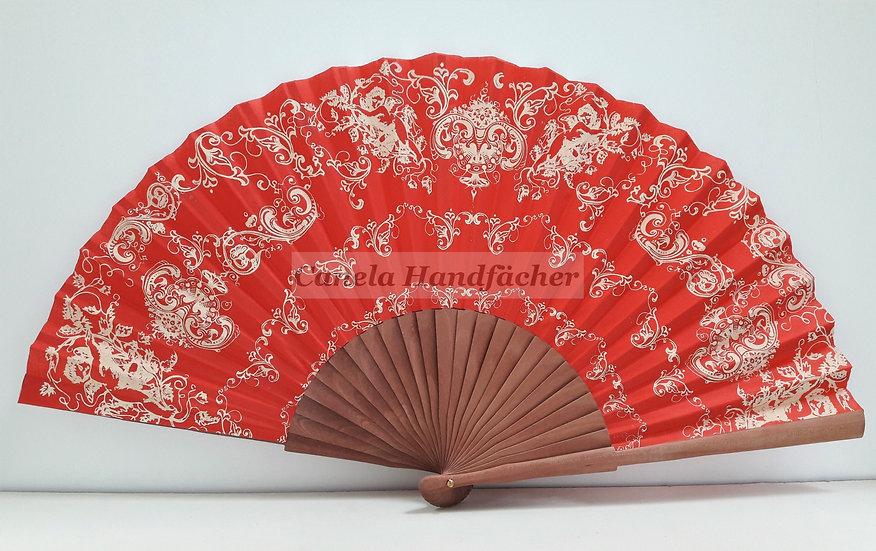 27 cm lager Handfächer aus Birnbaum Holz mit Stoff. Rot mit Muster bedruckt. Canela