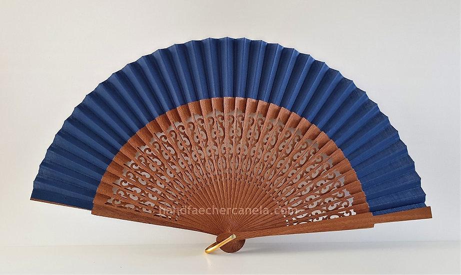 Hochwertiger Handfächer aus Holz und Stoff. Dunkelblau. Handgemacht in Spanien. AEA Bezeichnung