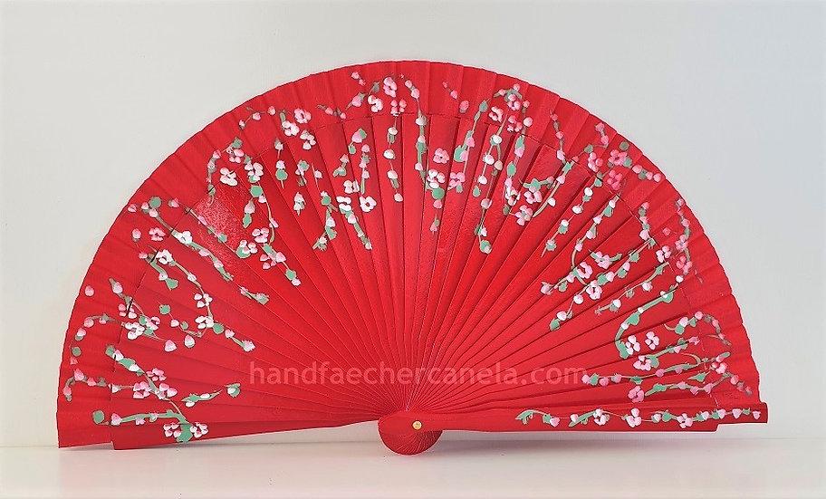 AP-2008ROJ - Kleiner Fächer handbemalt mit Blumen | 19 cm