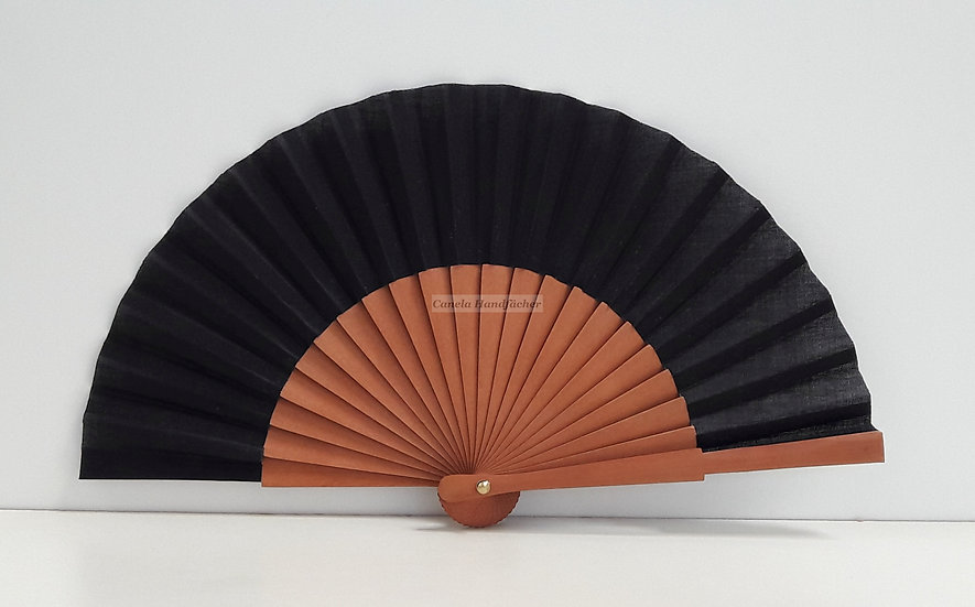 15 cm lager Handfächer aus Birnbaum Holz mit Stoff in schwarz. Markenfächer AEA. Canela