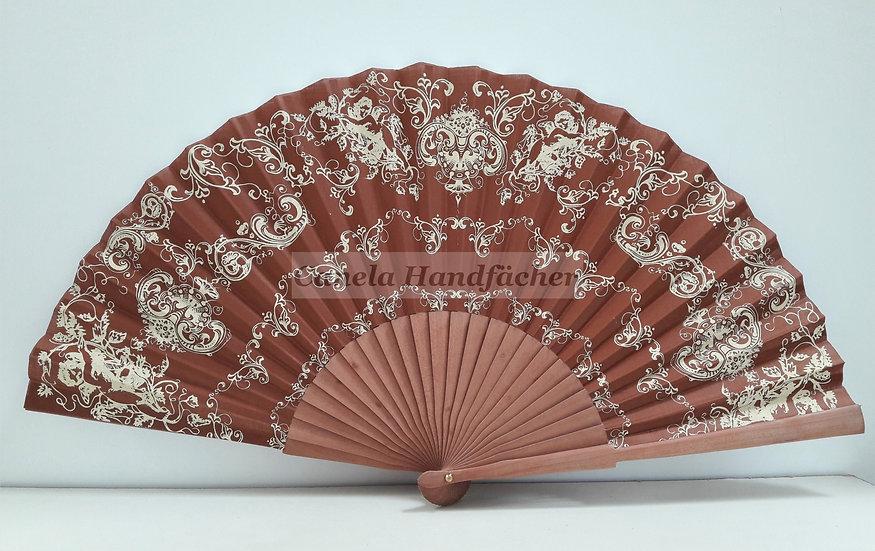 27 cm lager Handfächer aus Birnbaum Holz mit Stoff. Braun mit Muster bedruckt. Canela
