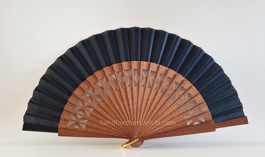 Hochwertiger Handfächer. Modernes Design mit Rauten. Handgemacht in Spanien. AEA Bezeichnung. Schwarz