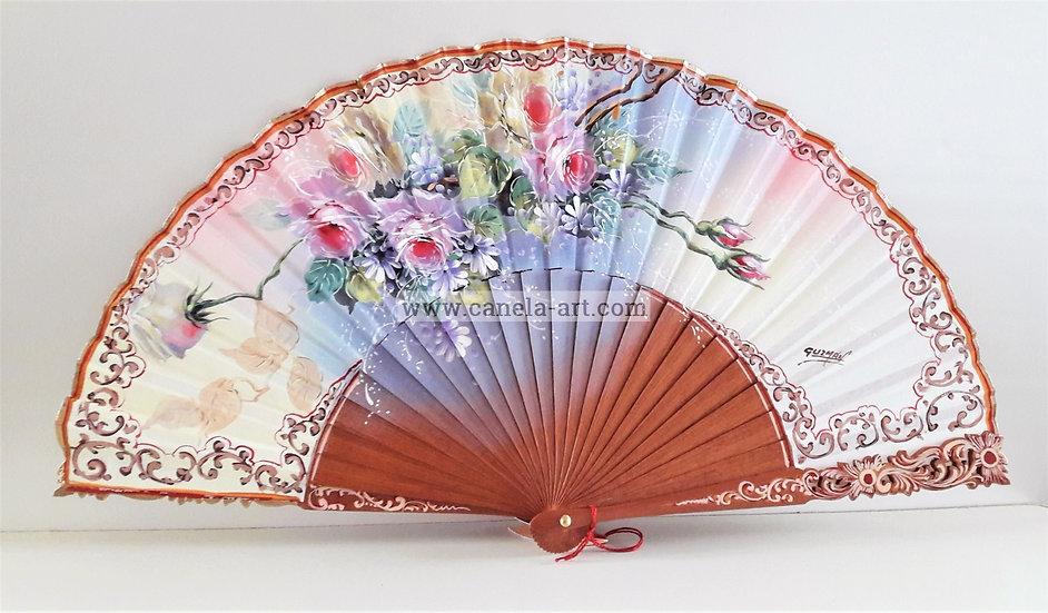 AA-854 - Handbemalter Fächer mit Blumen Motiv