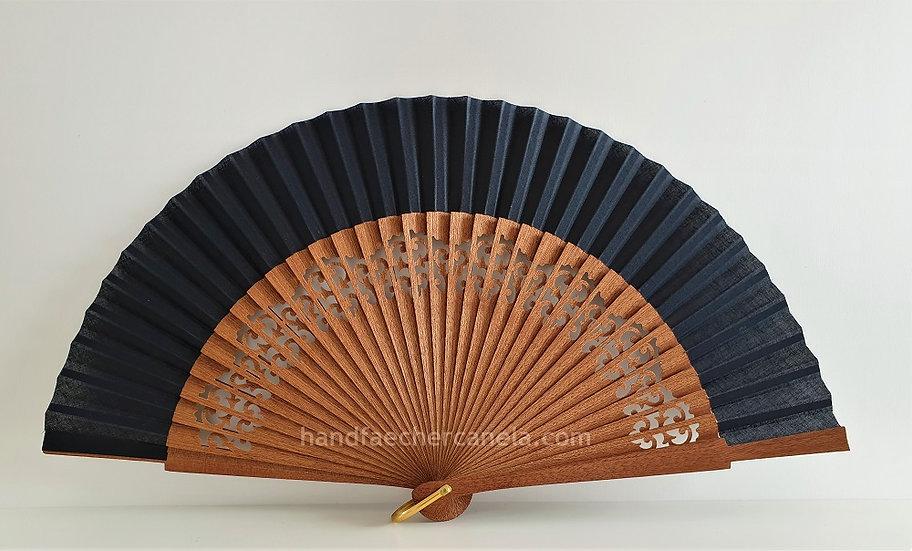 Hochwertiger Handfächer aus Holz und Stoff. Handgemacht in Spanien. Schwarz. AEA Bezeichnung