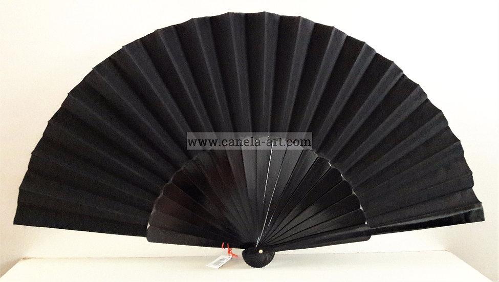 V-6001NEG -Großer Handfächer Schwarz | Bühnenfächer | 32 cm