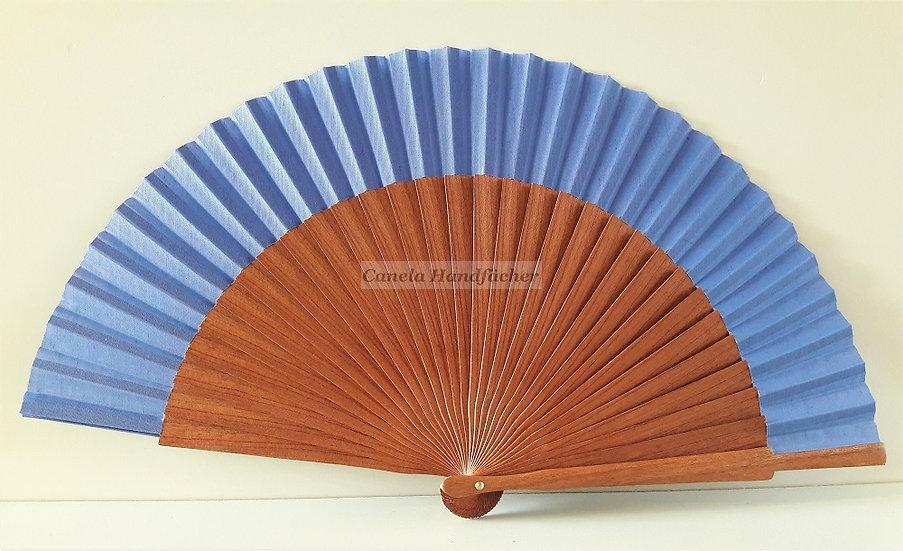Qualitativer Handfächer aus Kosipo Holz mit Stoff in Lila Farbe von CANELA Handfächer