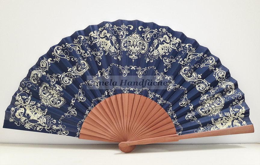 27 cm lager Handfächer aus Birnbaum Holz mit Stoff. Blau mit Muster bedruckt. Canela