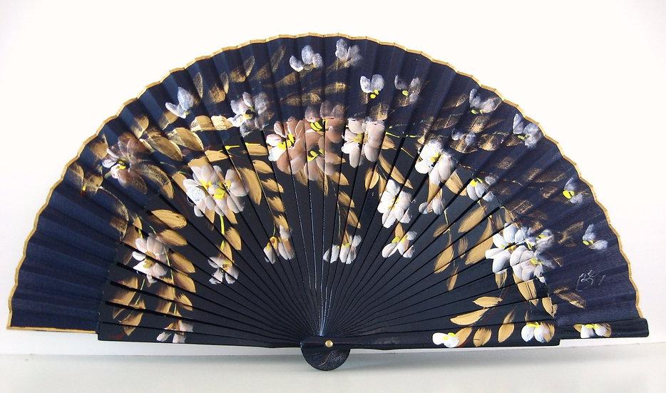 AP-234MAR - Fächer handgemalt mit schönen goldenen Tönen