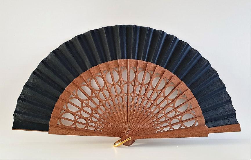 Hochwertiger Handfächer aus Holz und Stoff. Moderner Design. Handgemacht in Spanien. AEA Bezeichnung