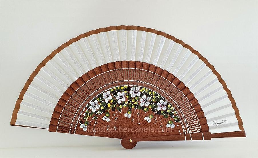 Handfächer handbemalt mit Blumen Motiv. AEA Bezeichnung. Kosipo Holz