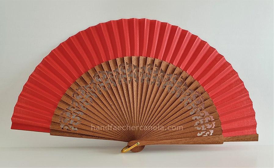 Hochwertiger Handfächer aus Holz und Stoff. Handgemacht in Spanien. Rot. AEA Bezeichnung