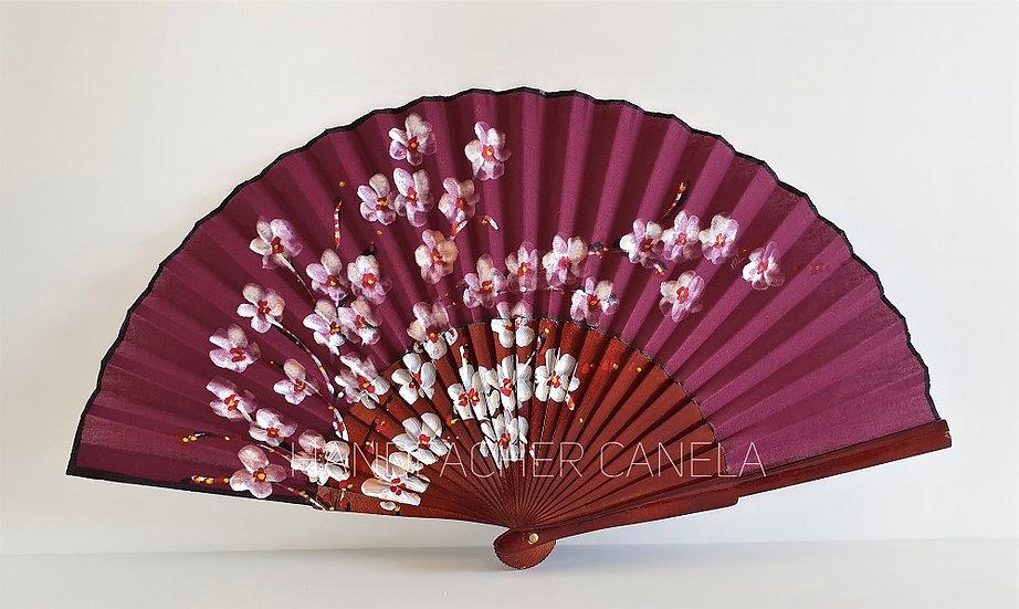 AP-239BUR - Handbemalter Fächer mit Blumen Motiv Bordeaux Farbe