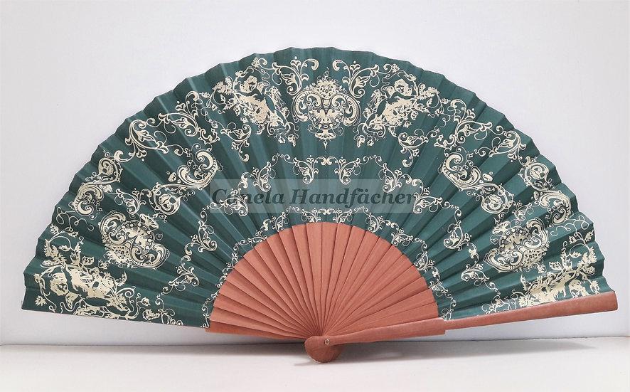 27 cm lager Handfächer aus Birnbaum Holz mit Stoff. Dunkelgrün mit Muster bedruckt. Canela