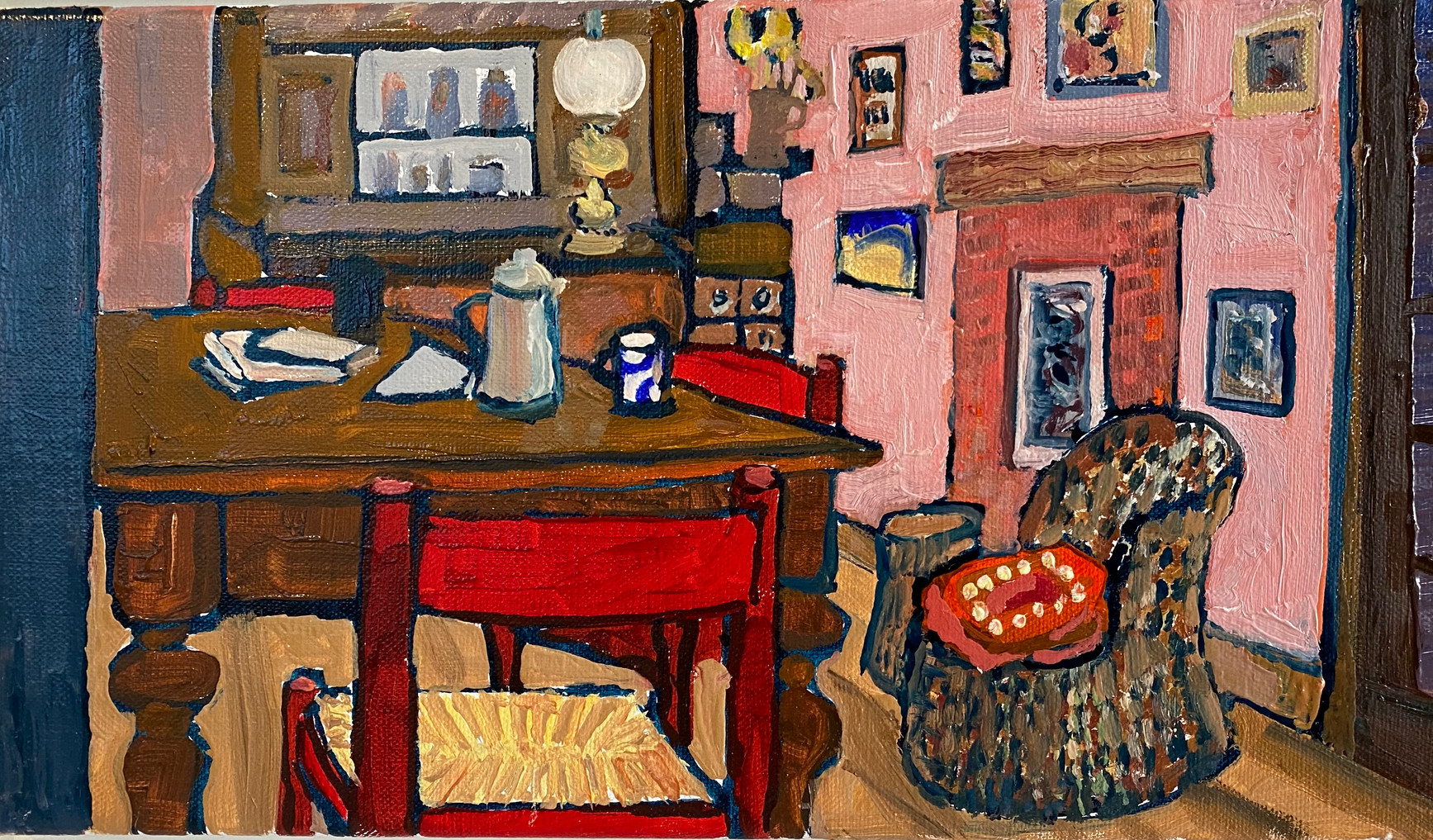 Kitchen with Red Chair