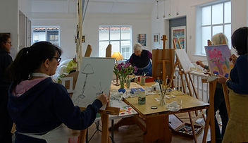 Oil painting class, Rebecca Barnard, Wells, Somerset