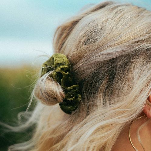 Samt Scrunchie Olive