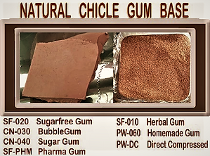 Natural chicle gum base types