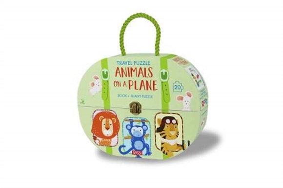 Animals on a Plane Jigsaw case