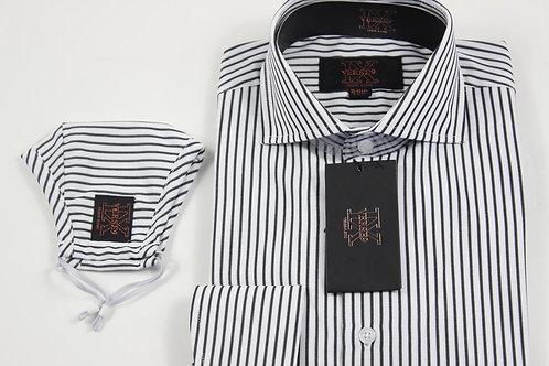 Black Stripe Shirt with Mask