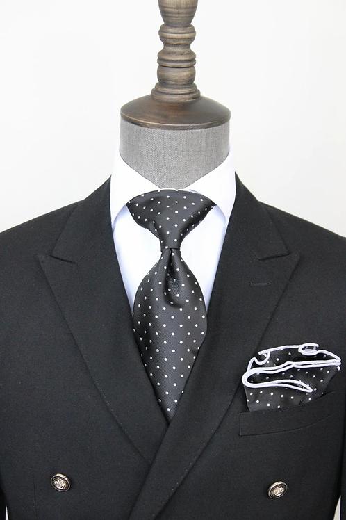 Black Pindot Tie