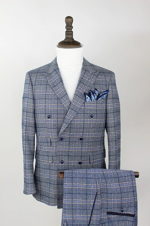 2 PC'S Double Breasted Blue Plaid Suit