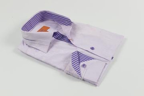 Pleated Collar Solid Floral Lavender Shirt with a Purple and White Contrast