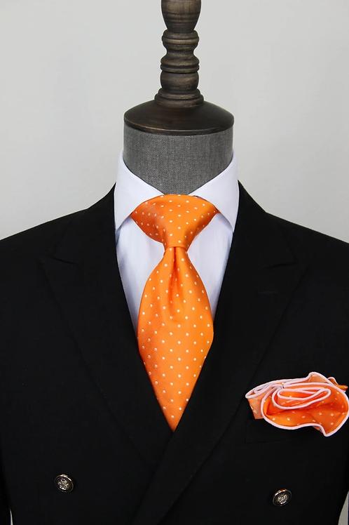 Orange Pindot Tie