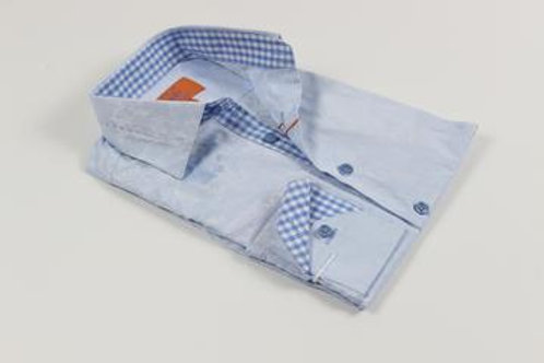 Pleated Collar Solid Floral Blue Shirt with a Blue and White Contrast