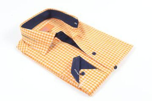 Pleated Collar Orange and White Shirt with Navy Contrast