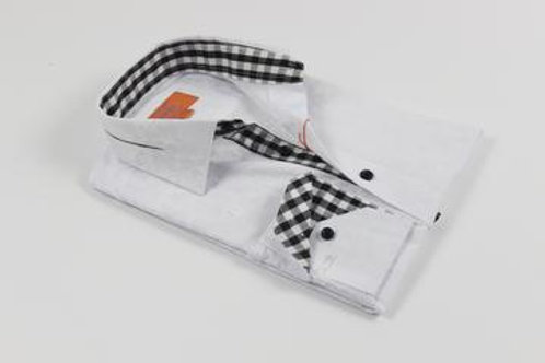 Pleated Collar Solid Floral White Shirt with a Black and White Contrast