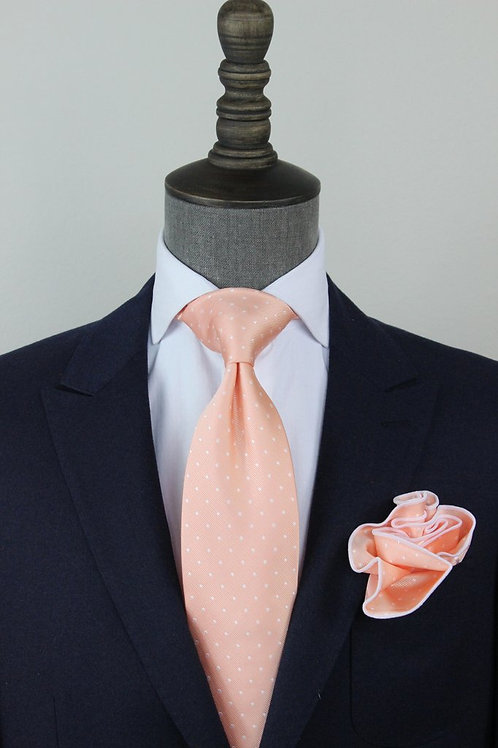 Peach Pindot Tie