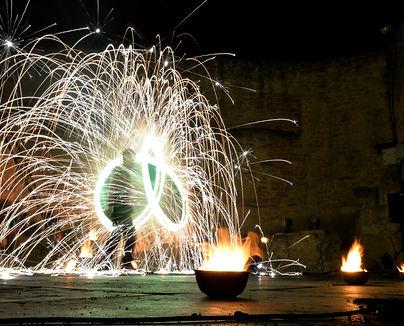 spectacle de feu, feu d'artifice, animation, feu