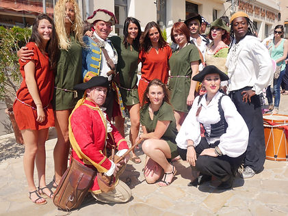 groupe, pirate, spectacle, reconstitution