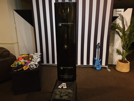 Photo booth hire with stripes..