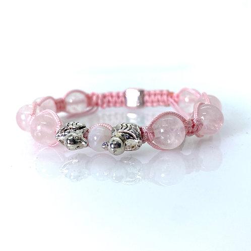 Rose quartz Love Ducks Bracelet 10mm beads
