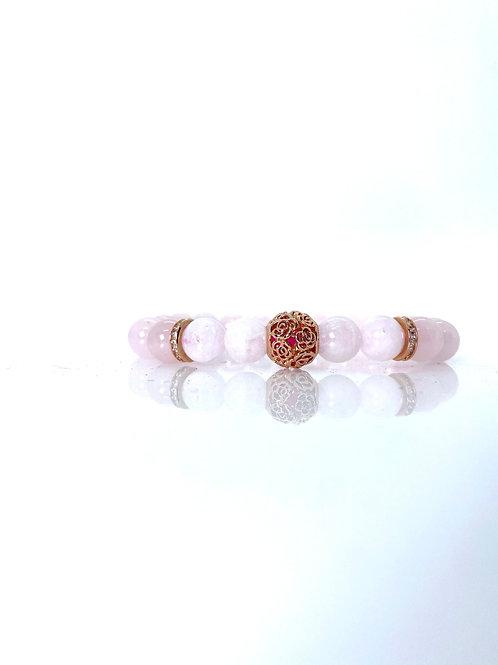 Rose Gold Plated SS925 + Rose quartz + Moonstone Bracelet 10mm beads
