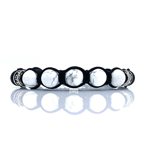 ARTHURHowlite and black matt onyx mens bracelet black cord and SS925 beads cross